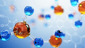 blue and orange chemical atoms